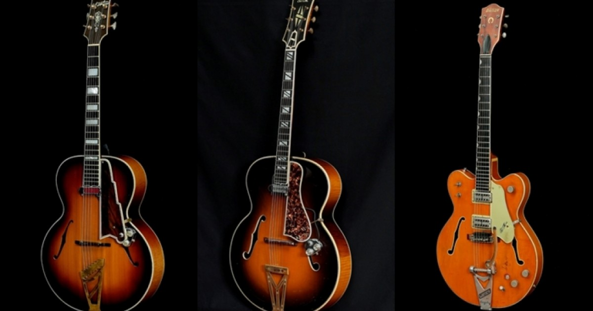"""The guitar with f-shaped sound holes"", an exhibition on the Arch-Top Guitar"